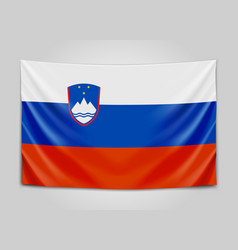 Hanging flag of slovenia republic of slovenia vector