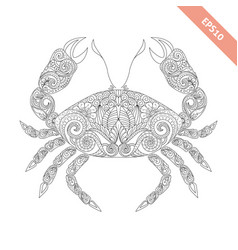 cartoon crab with ornament vector image