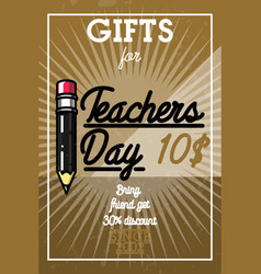 Color vintage teachers day banner vector