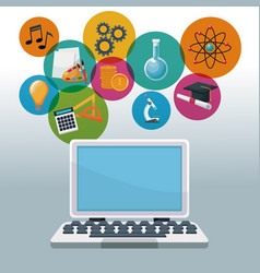 Color background tech laptop with icons academic vector