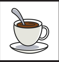 Cup of coffee on saucer and with spoon inside vector