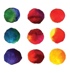 Set of watercolor hand painted gradient circles vector