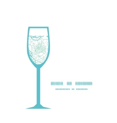 Blue line art flowers wine glass silhouette vector