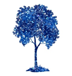 Chestnut blue tree with christmas snowflakes vector