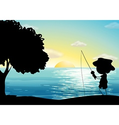 Silhouette fishing vector