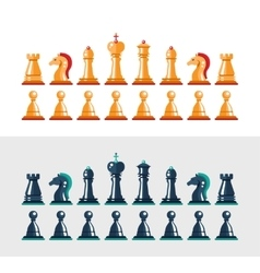 Flat design isolated black and white chess figures vector