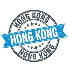 Hong kong blue round grunge vintage ribbon stamp vector