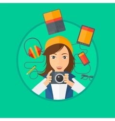 Young woman surrounded with her gadgets vector