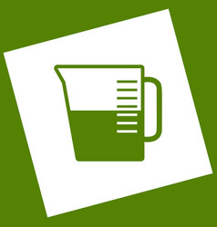 Beaker sign white icon obtained as a vector