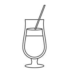 Cocktail popular alcohol drink straw outline vector