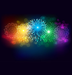 colorful firework on black background for vector image