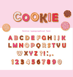 cookie hand drawn decorative font cartoon sweet vector image