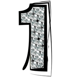 Diamond font number 1 vector
