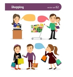 Family shopping people vector image