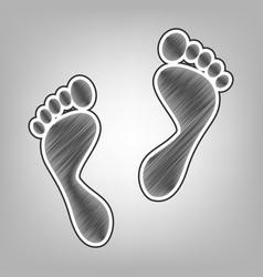 Foot prints sign pencil sketch imitation vector
