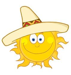 Happy Sun Wearing A Sombrero vector image vector image