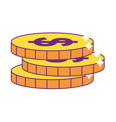 Isolated coins design vector