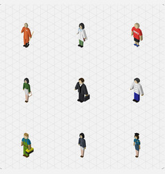 isometric people set of male girl doctor and vector image