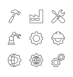 manufacturing outline icons vector image vector image