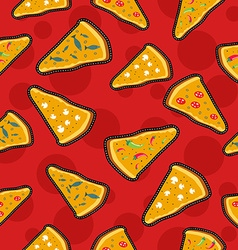 Pizza stitch patch icons seamless pattern vector