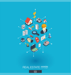 Real estate integrated 3d web icons digital vector