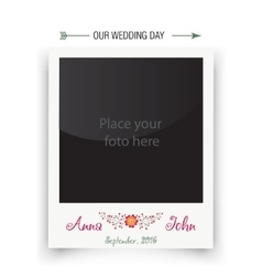 Retro wedding photo frame polaroid template for vector