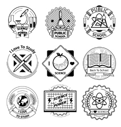 School and science vintage badges set vector