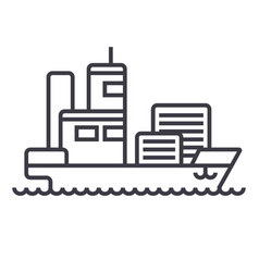 ship cargo container line icon sig vector image vector image