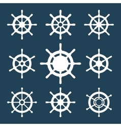 Ship helm icons set vector