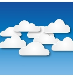 White abstract paper clouds vector
