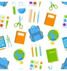 School supplies seamless pattern vector image