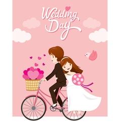 Wedding card bride groom riding bicycle vector