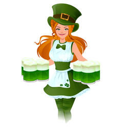 woman waitress patrick holds glass of green beer vector image