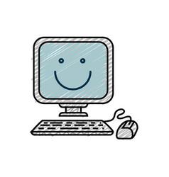 Happy computer icon vector