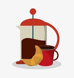 set coffee grinding jar with crank and mug of vector image