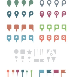 Map pins flat white vector