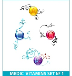 Colored shiny medic circle pills set isolated vector