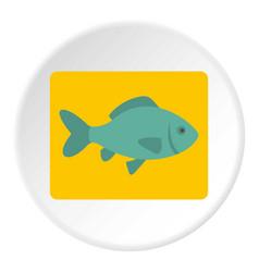 Fresh raw fish icon circle vector