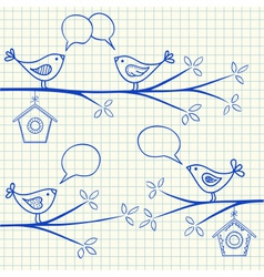 Birds sitting on a branch with birdhouse vector