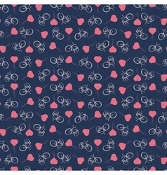 Background with bicycles and heart balloons vector