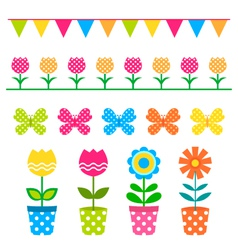 Flowers and design elements set vector