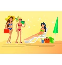 Hot girl on a beach vector