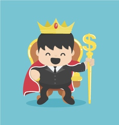 A successful businessman is sitting on throne crow vector