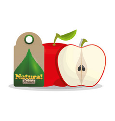 Apple natural product tag market vector