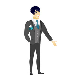 Asian groom with hand in his pocket vector