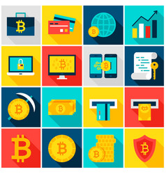 Bitcoin currency colorful icons vector