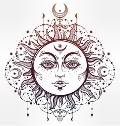 Boho Sun Vintage decorative drawing vector image vector image