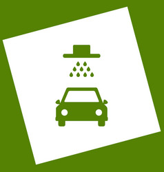 Car wash sign white icon obtained as a vector