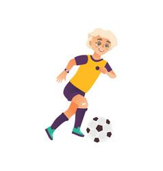 cartoon boy character playing football vector image vector image
