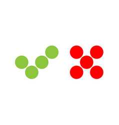 Check mark icons of dots green tick and red cross vector